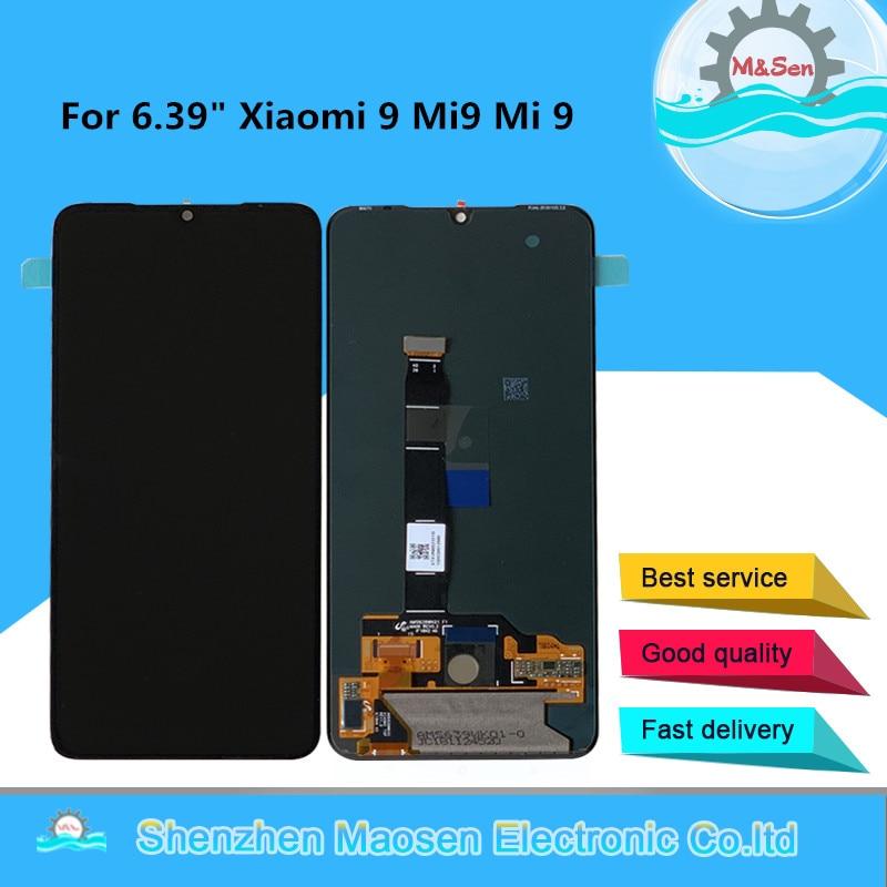 إطار شاشة عرض أصلي 6.39 بوصة من Supor Amoled M & Sen لـ Xiao mi 9 Mi9 mi 9 LCD + لوحة رقمية تعمل باللمس لهاتف MI 9 Explorer