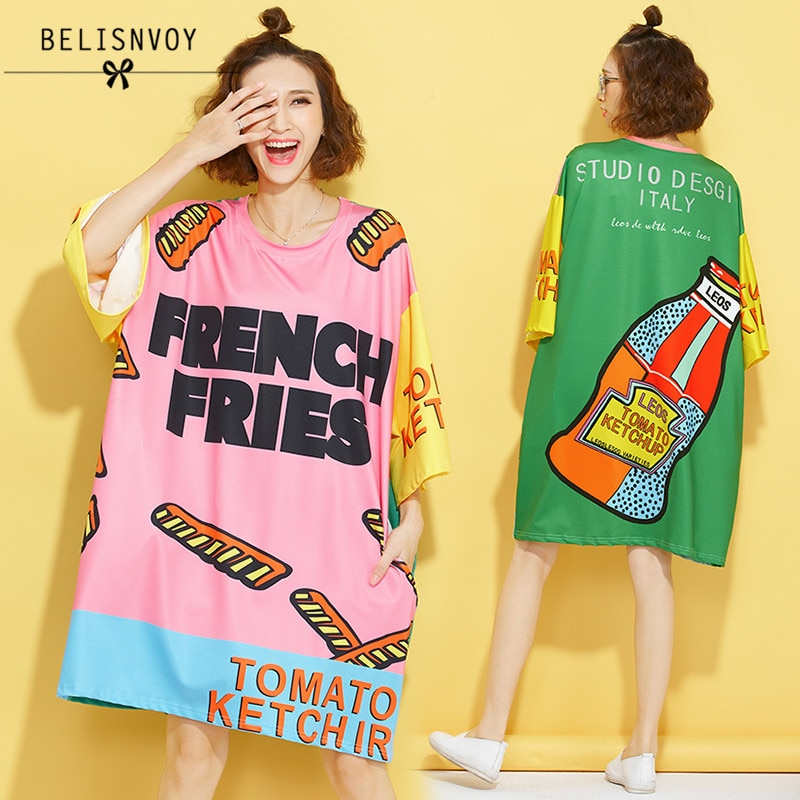 2019 Women Novelty Designer TShirt Summer Fashion Cute Bottle Letters Print Bat Sleeve Straight T-shirt Plus Size Tops Tee Femme