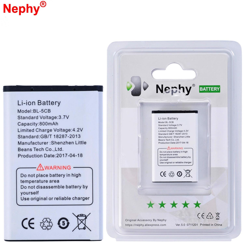 2019 Original Nephy marca batería BL-5CB para Nokia 1800 E60 3600, 6620, 3108, 2135 N91 1616 C2-06 C2-00 X2-01 6263 7600, 6820, 6600,