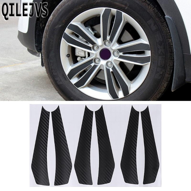 QILEJVS Carbon Fiber Car Wheel Hub Decal Sticker Decoration Set For Kia KX5 Sportage 2016 2017