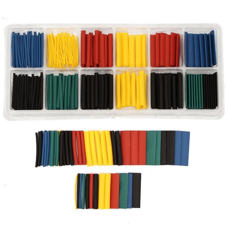 Tubo aislante termoencogible de poliolefina, surtido de tubos de envoltura de alambre, Kit de tubos, 8 tamaños, multicolor, 2:1, 280 Uds.
