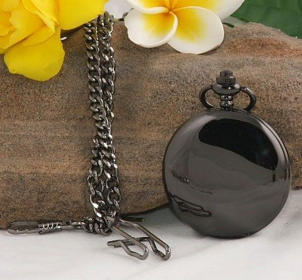 Llanura pulido negro los hombres del reloj de cuarzo reloj de bolsillo antiguo T914 freeship