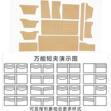 Sac à clips cuir de Style court   13 pièces, portefeuille femme, motif de couture, pochoir en papier Kraft dur, 11x9.5cm