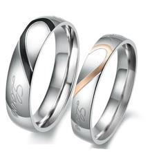 Puzzle en forme de coeur anneau en titane amoureux bague en acier titane plaqué argent couple anneaux bague de mariage