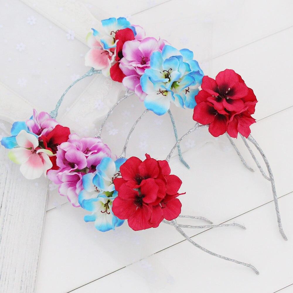 Bonitas diademas de Hydrangea de tacto Real para niñas, diadema con orejas de gato, tela de flores para niños, diademas para el cabello Accesorios