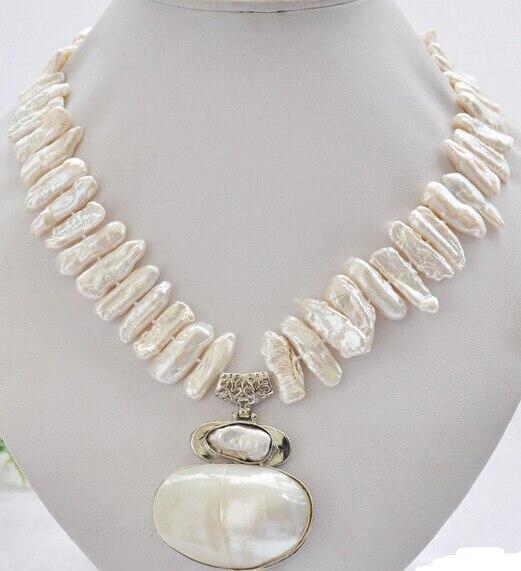 """Envío Gratis ** Venta caliente> 17 """"25mm blanco biwa dens collar de perlas de agua dulce"""