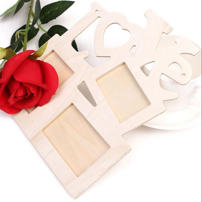 DIY hueco amor foto de madera marco de foto AHMEN decoración de pared del hogar Collage regalo marco de fotos de pared