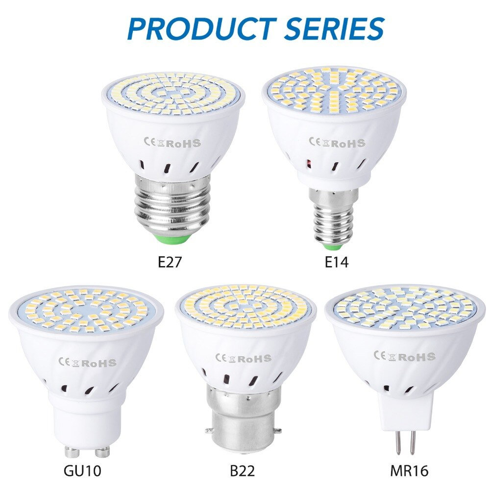 GU10 Led 220 В лампочки E14 точечный свет E27 кукурузная лампа 2835 SMD Bombillas светодиодные лампы MR16 прожектор B22 4 Вт 6 Вт 8 Вт ампулы GU5.3