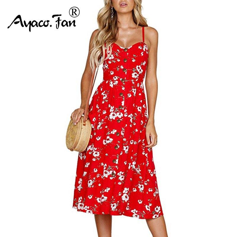 Plus Size Women Summer Bohemian Dress 2019 V-Neck Sleeveless Backless Floral Printed Dress Sexy Boho Beach Dresses Sundress