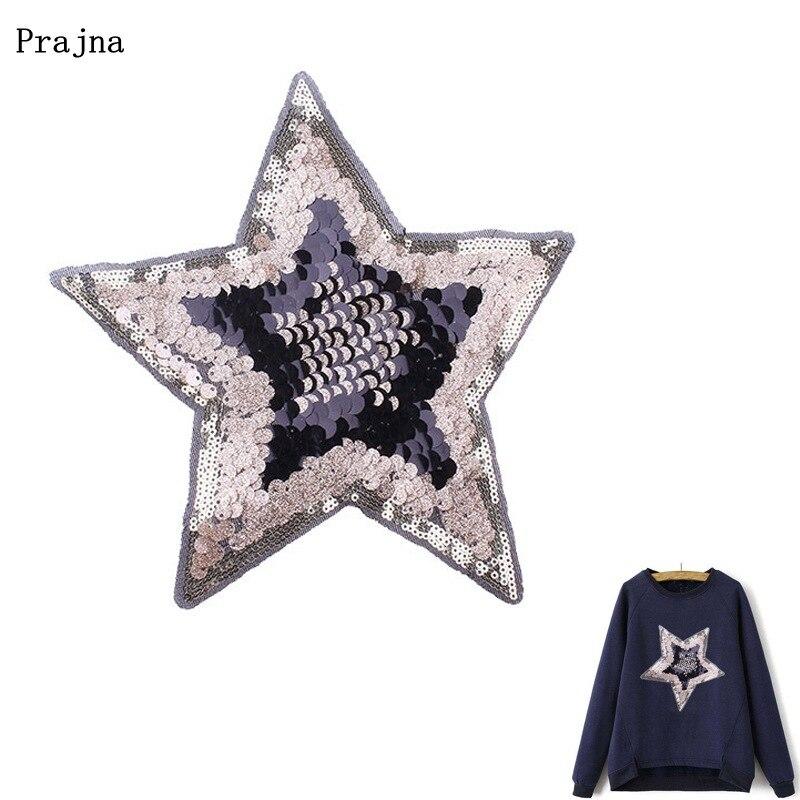Prajna étoiles paillettes patchs grande taille Patch fer sur vêtements accessoires de couture bricolage jean t-shirt avec paillettes étoiles autocollants