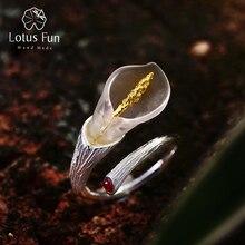 Lotus Fun réel 925 argent Sterling pierres précieuses naturelles concepteur de Bijoux fins Calla Lily fleur anneau anneaux réglables femmes Bijoux