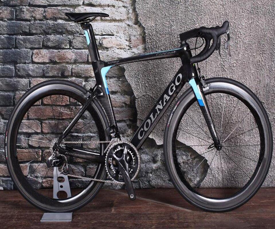 Negro-azul Colnago lleno bicicleta completo carbono bicicleta de carretera con R8010 Grupo 50mm Juego de ruedas de carbono Novatec A271 centros