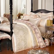 Ensemble de literie de luxe en Satin   Housse de couette en Jacquard de luxe, rouge, violet, rose et bleu, housse de couette de grande taille, pour Textiles de chambre à coucher, ensembles de literie en coton, 4 pièces