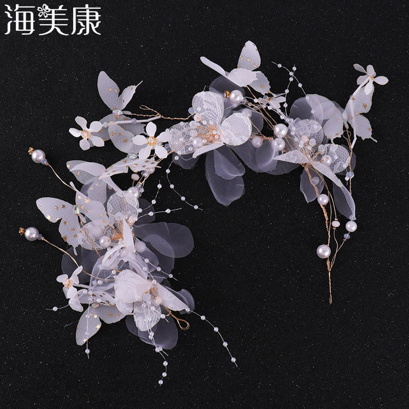Haimeikang moda acessórios para o cabelo de noiva borboleta pérola faixa de cabelo das mulheres artesanal 2019 novo casamento jóias