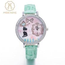 MISS KEKE 3D argile mignon mini monde golden retriever strass montres Relogio Feminino dames femmes montres en cuir 1059