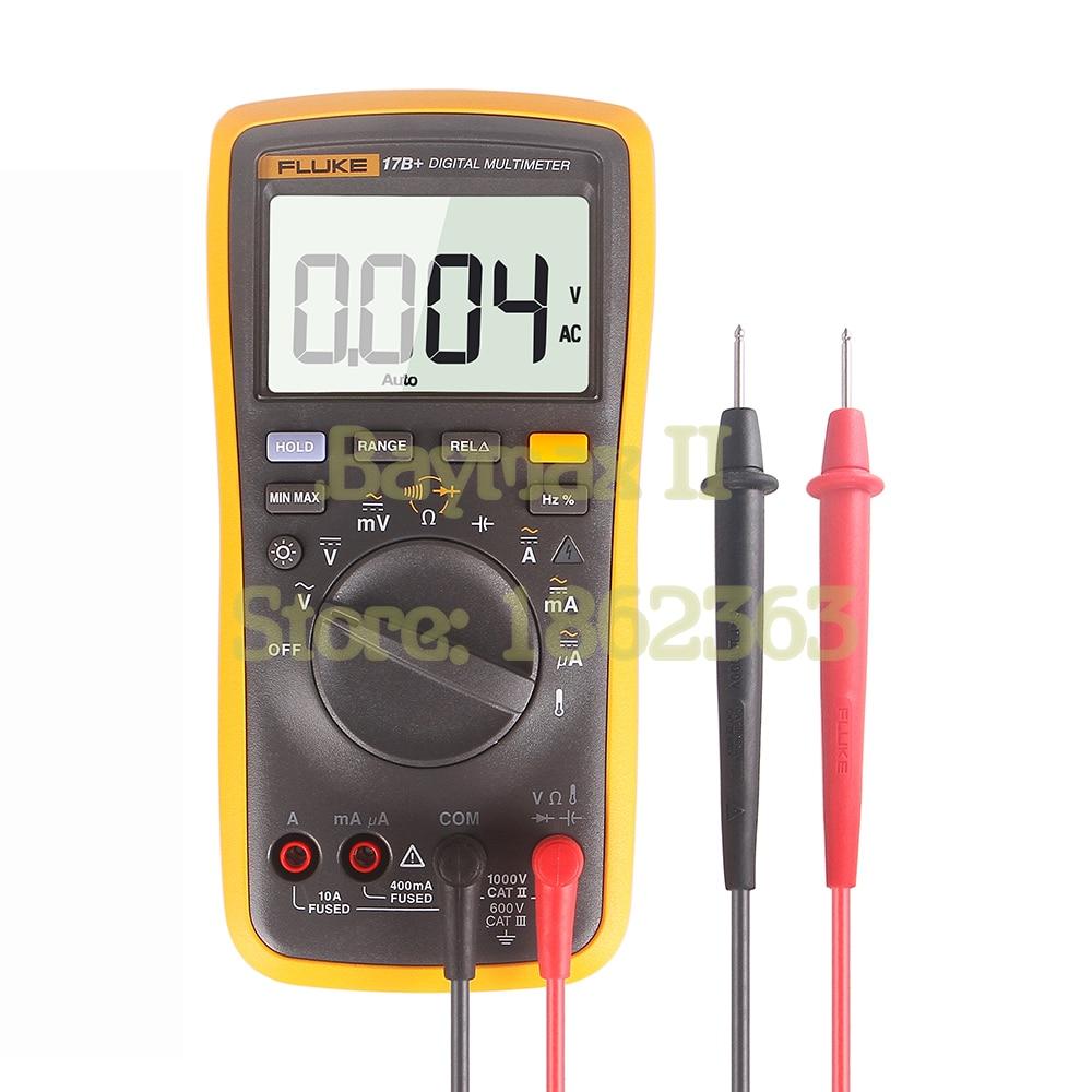 فلوك-مقياس رقمي متعدد المدى 17B AC/DC ، التيار ، السعة ، أوم ، أوتوماتيكي/يدوي مع قياس درجة الحرارة