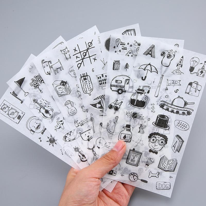 Etiquetas adhesivas para pintar en blanco y negro, 6 hojas por paquete, etiquetas decorativas de papelería, etiquetas adhesivas para álbum diario Diy de Scrapbooking