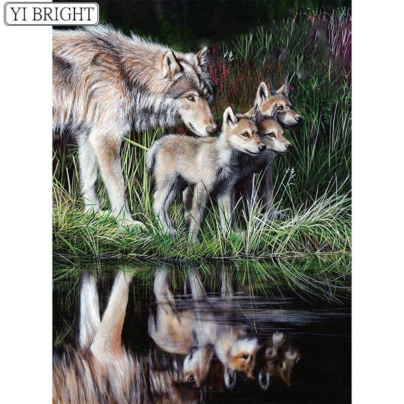 5D DIY pintura de diamante punto de cruz Lobo madre y tres little wolve mosaico de diamante redondo completo bordado de diamante cuadrado completo