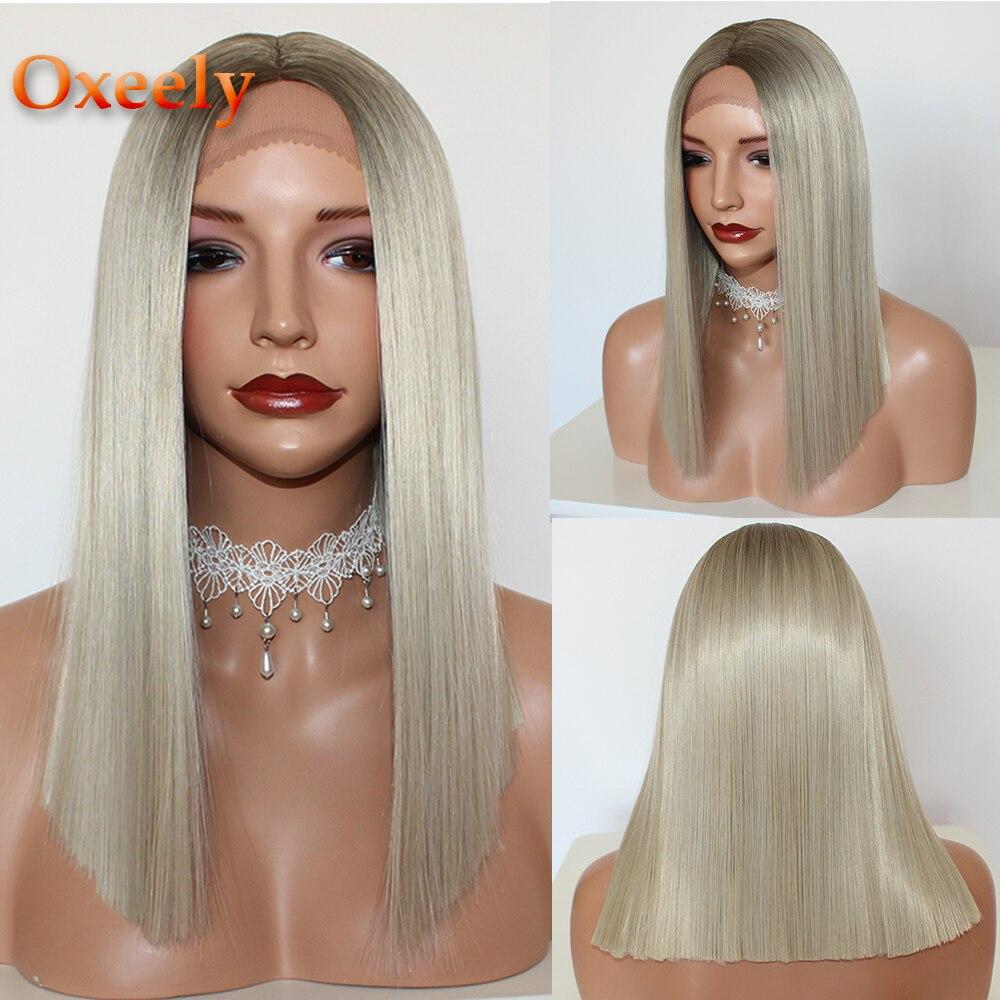 Oxeely pelucas con encaje frontal sintético, pelo rubio, corte Bob, sin pegamento, color marrón Rubio, pelucas de encaje liso corto para mujeres negras