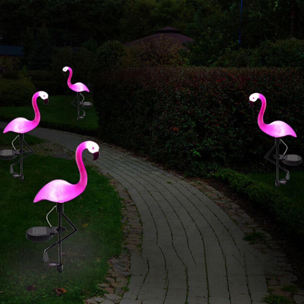 Dropshipping LED Solar Flamingo Lawn Lamp Garden Light Simulated  Waterproof Solar Led Lights Outdoor For Garden decor