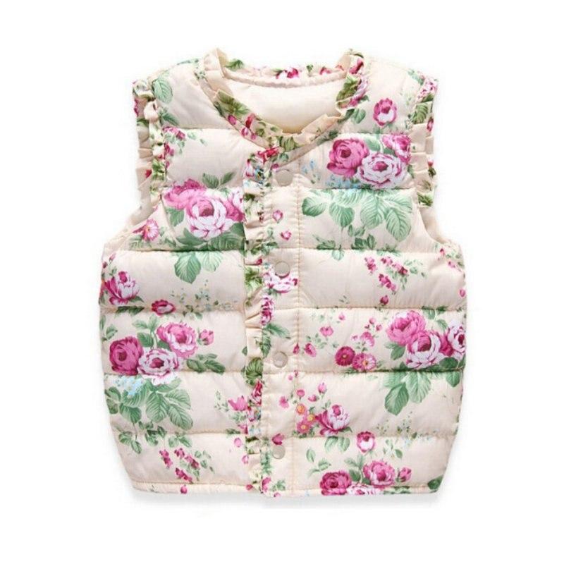 Осенне-зимняя верхняя одежда для детей; Пальто; Жилет с цветочным принтом; Детская ветровка; Хлопковые пальто; Детский теплый жилет
