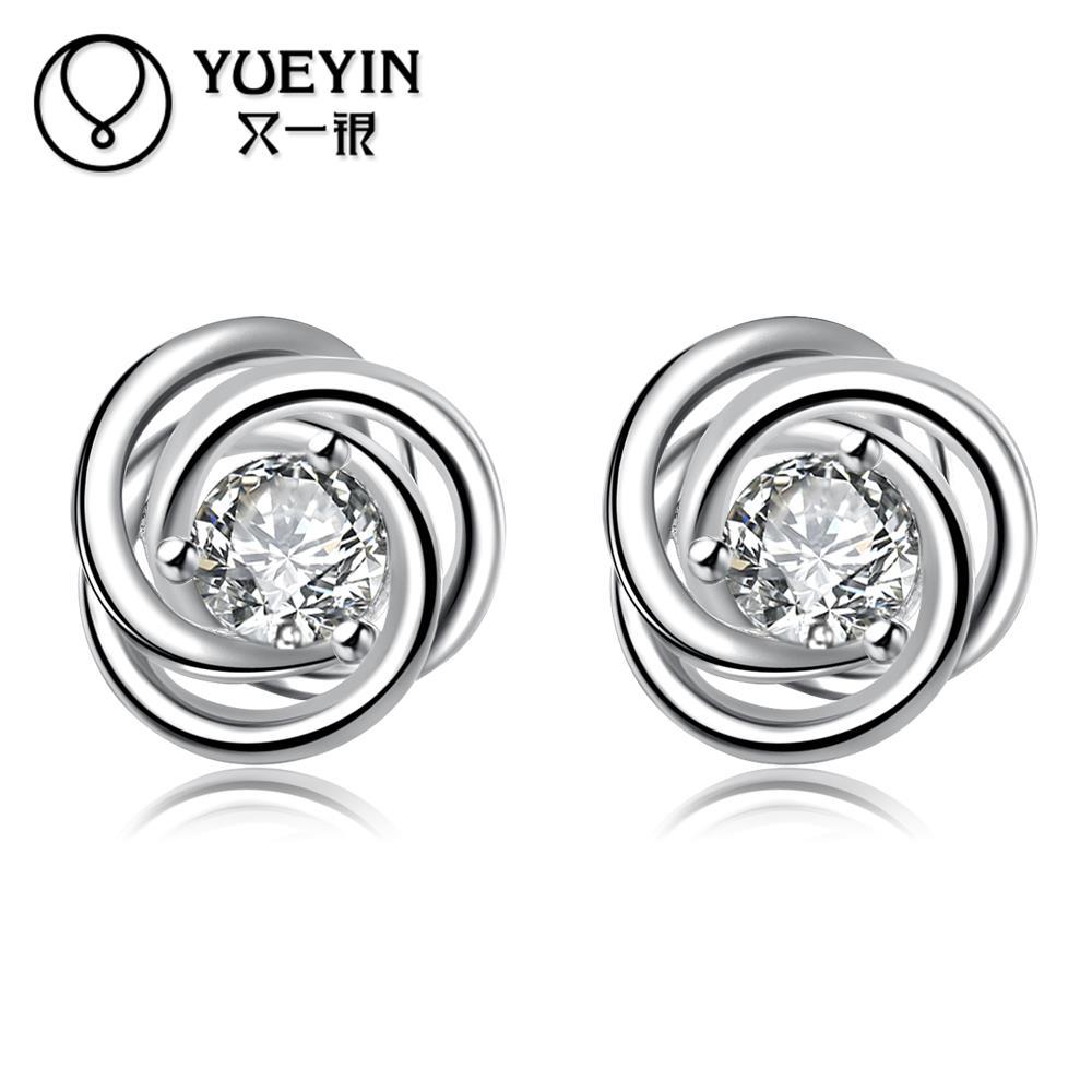 Rhinestone earrings silver plated earrings for women fashion Bridal Jewelry Vintage auskarai