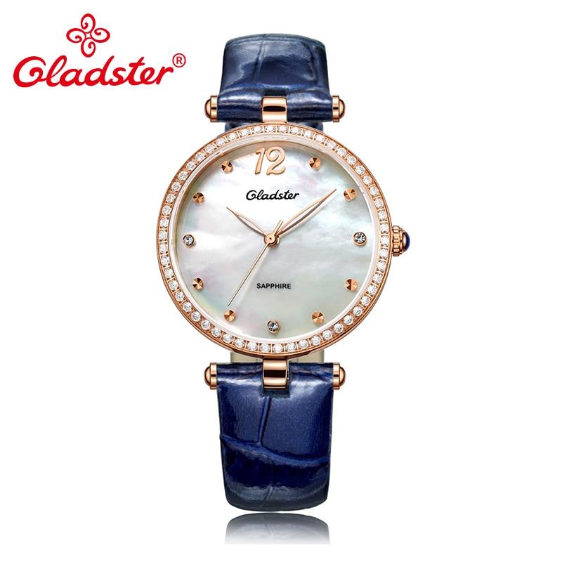 Gladster Luxury Japanese MIYOTA 2035 Lady Analog Watch Pearl Dial Leather Female Wrist Watch Fashion Diamond Women Quartz Clock enlarge