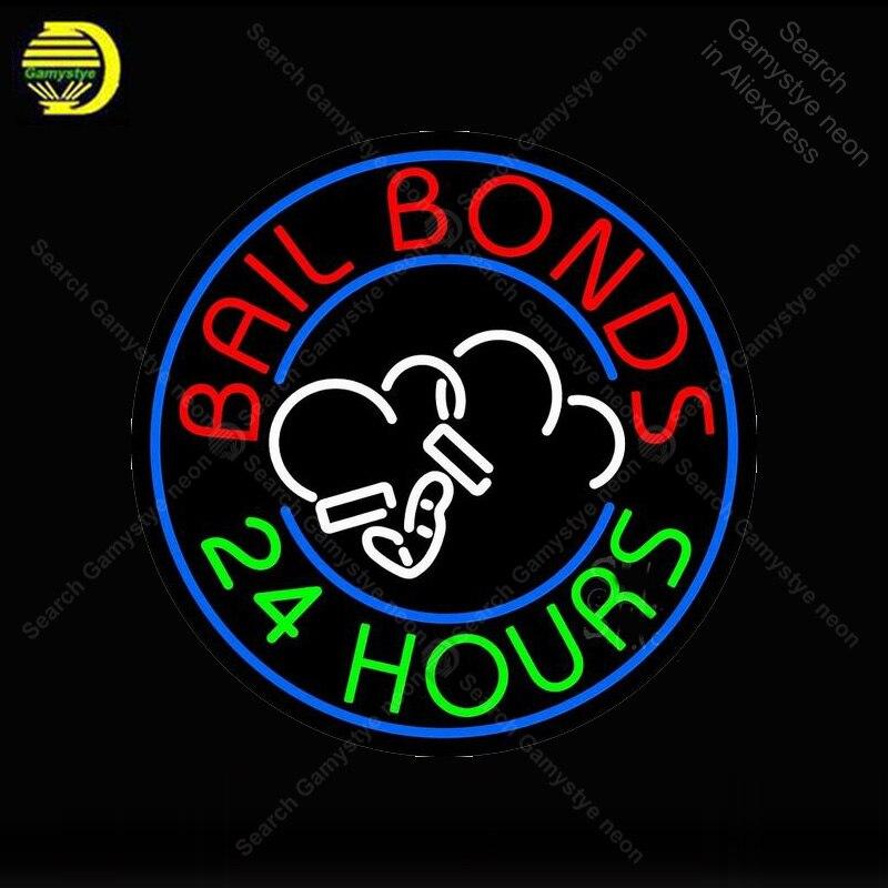 Bail Bonds 24 horas, Bombilla de neón para manualidades, sala de juegos, señal icónica, lámparas de neón, anuncio de tienda, anuncio luminoso