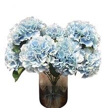 """Kunstmatige Hortensia Bloem 5 Grote Hoofden Boeket (Diameter 7 """"elk hoofd) Blauw"""