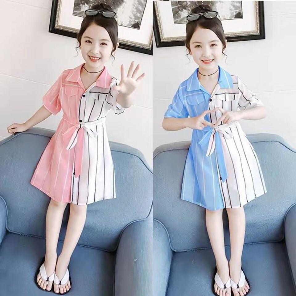 2 colores vestidos de verano para Niñas para 3T-12 Yrs niños a rayas niñas vestido de fiesta Shool Girl vestidos moda elegante princesa vestido