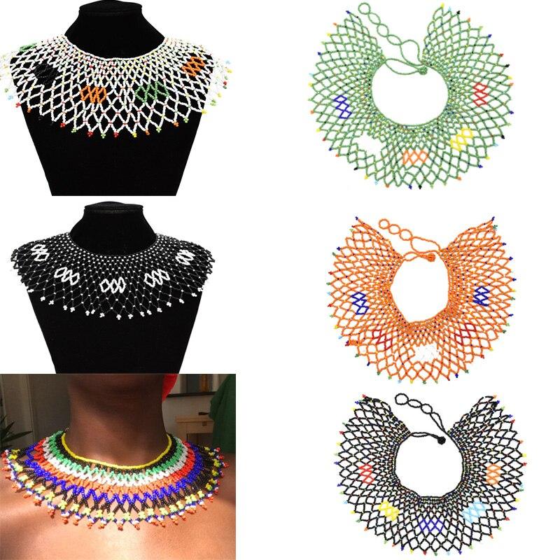 Collar étnico Tribal babero Collar africano colorido con cuentas borla gargantilla collares Declaración egipcia Maxi Joyería de Halloween