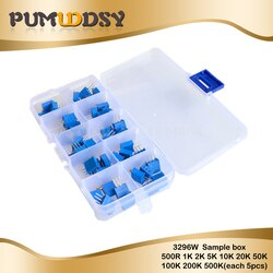 50pcs 3296W Multiturn-trimmpotentiometer Kit Hohe Präzision 3296 Variable Widerstand Mit Freies Box elektronische diy kit