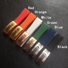 Correa de goma de silicona curvada para reloj RX Daytona Submariner GMT explorer 2, 20mm, negro, verde, azul, naranja