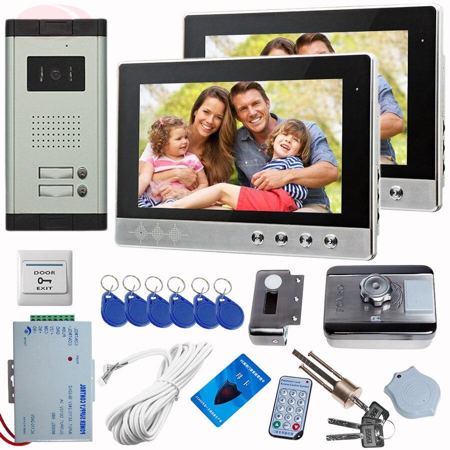Видеодомофон с 10 дюймовым экраном звонок для дома цветная CCD камера 2 клавиши Rfid
