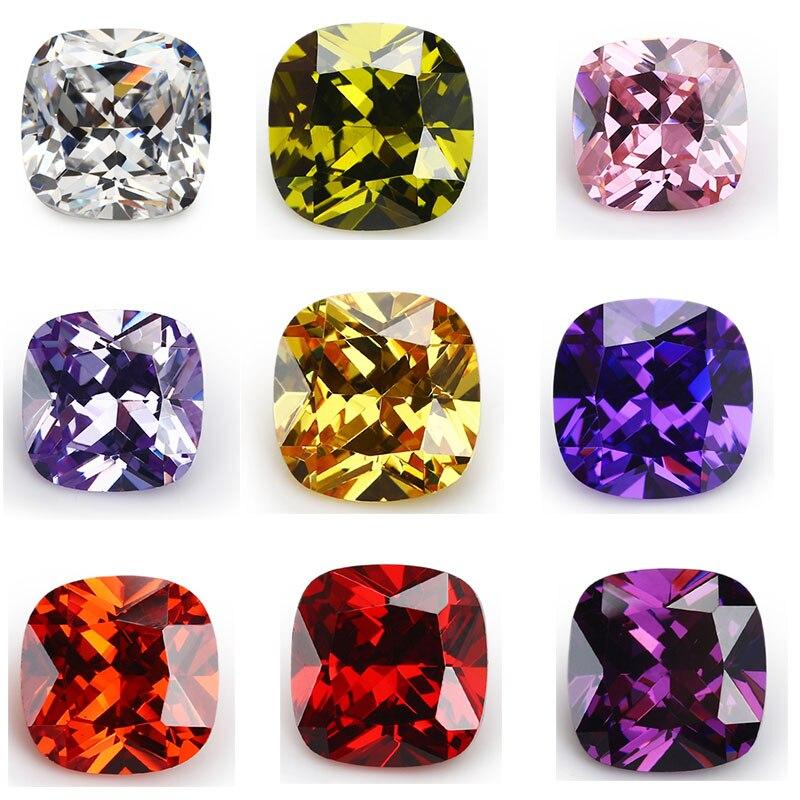 50 pçs 1.75x1.75 15 15x15 aaaaa amortecimento branco, voilet, azeitona, roxo, preto, rosa zircônia cúbica pedra solta cz gemas