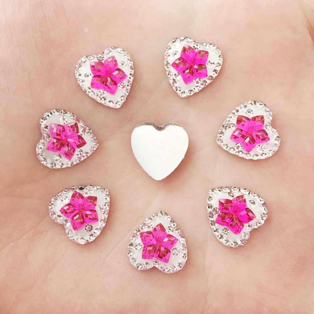 NEW DIY 80PCS 12mm Resin Heart Rhinestone Flower Flatback Scrapbooking for Phone Wedding Decoration K342*2