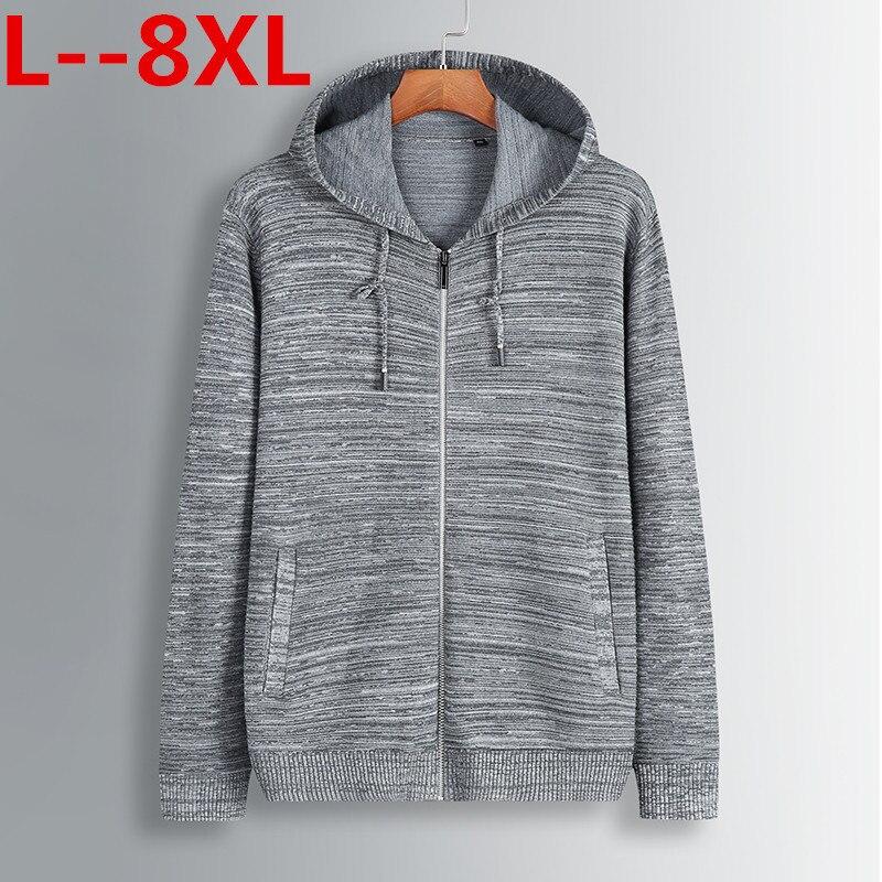 Suéteres de hombre de talla grande 8XL 6XL 5XL 4XL otoño invierno cálido suéter de lana de Cachemira con cremallera prendas de punto Jerséis informales para hombre cárdigan