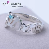 925 sterling silver name ring customized zircon choose personalized nameplate ring classic style for mother