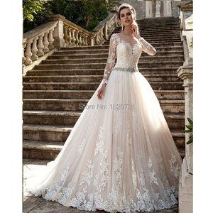 Vestido De Noiva De Renda 2020 Bridal Gown Vintage Long Sleeve Lace Wedding Dresses Sexy Princess Women Wedding Dress