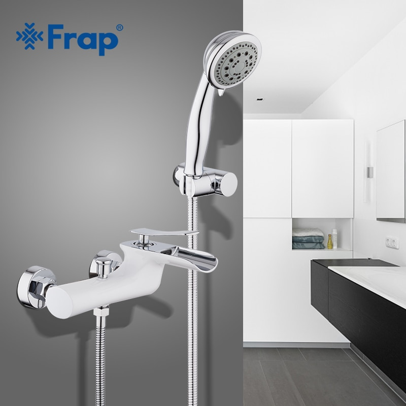 Frap-حنفيات حمام نحاسية مطلية بالكروم الأبيض ، مجموعة صنبور دش بمقبض واحد ، نظام دش
