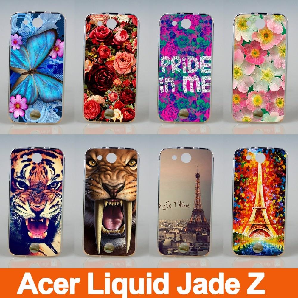 Envío gratis/Pintura suave TPU dibujos animados Rosa Flor Mariposa funda de teléfono para Acer Liquid Jade Z S57