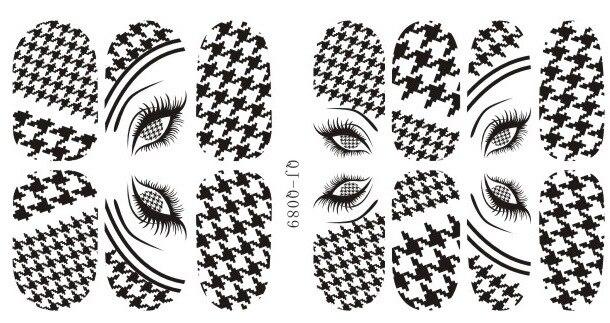 14 puntas/Pc colorido pata de gallo Nail Art pegatinas para puntas funda completa de uña Art decoraciones 3D Nail Design QJ-Q089-100