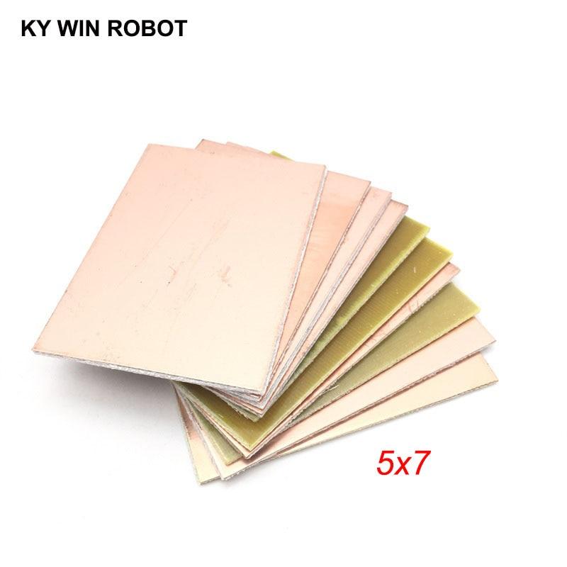 10 шт. FR4 PCB односторонняя медная плакированная пластина DIY PCB Kit ламинатная печатная плата 5x7 см