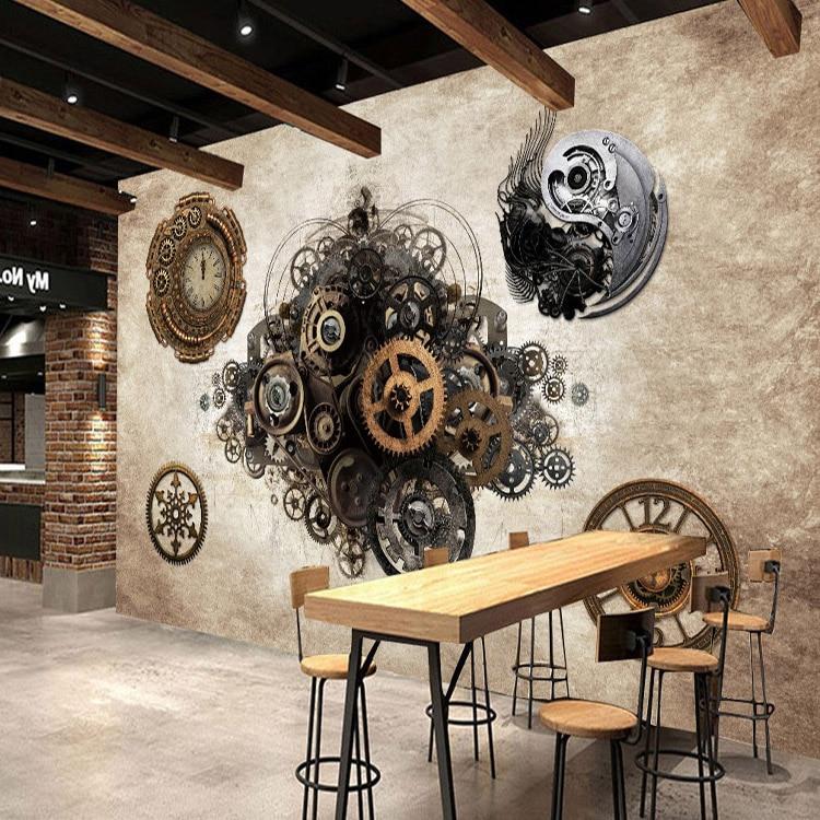 Photo wallpaper Retro industrial metal gear 3D Wallpaper Bar Cafe background wall clock bedroom clothing store wallpaper mural