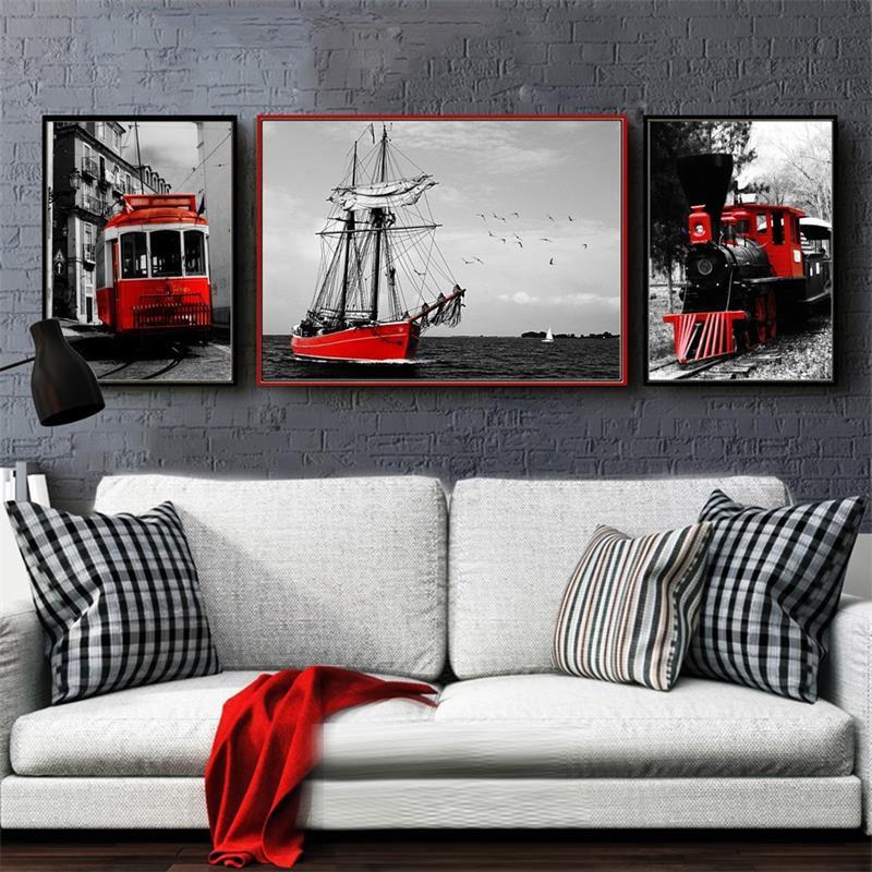 Pintura de lona nórdica para decoración del hogar, fotografía, arte de pared, Impresión de paisaje rojo Retro, dormitorio, negro, blanco, paisaje, pintura