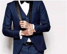 Tuxedos de marié bleu marine à un bouton sur mesure pour hommes dhonneur costume de mariage pour hommes costumes de marié (veste + pantalon + gilet + cravate + ker