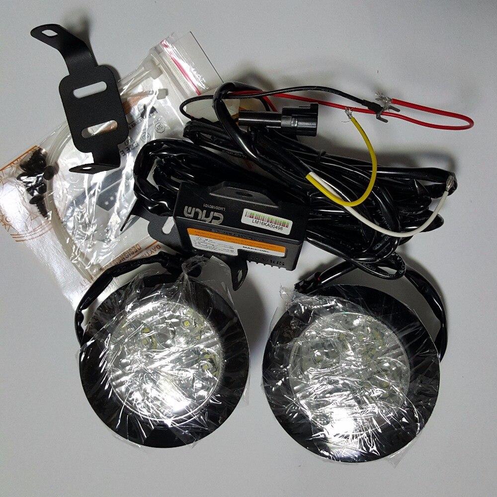 CNLM 2X car drl círculo redondo Luz de circulación diurna frontal luz de día 4 LED niebla lámpara impermeable dimmer flash E4 R87 ECE RL00