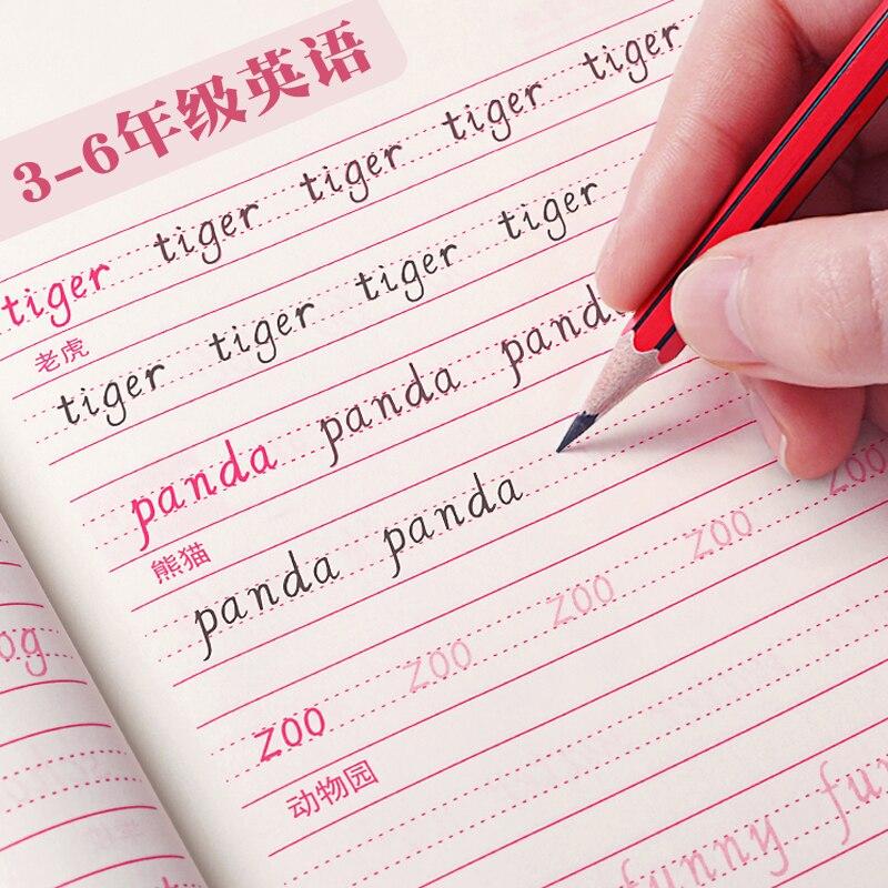 3-6 grado de libro de texto inglés sincrónico de práctica de copia de libros de texto italiano en cursiva pluma dura de caligrafía