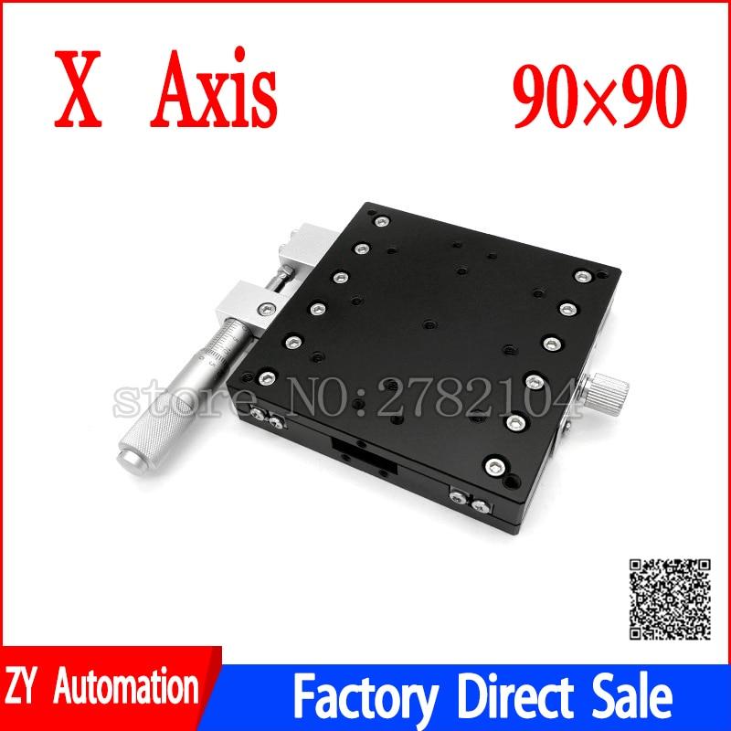 X محور 90x90 مللي متر منصة تشذيب مراحل خطية يدوية ضبط انزلاق الجدول X90-L X90-C X90-R عبر السكك الحديدية