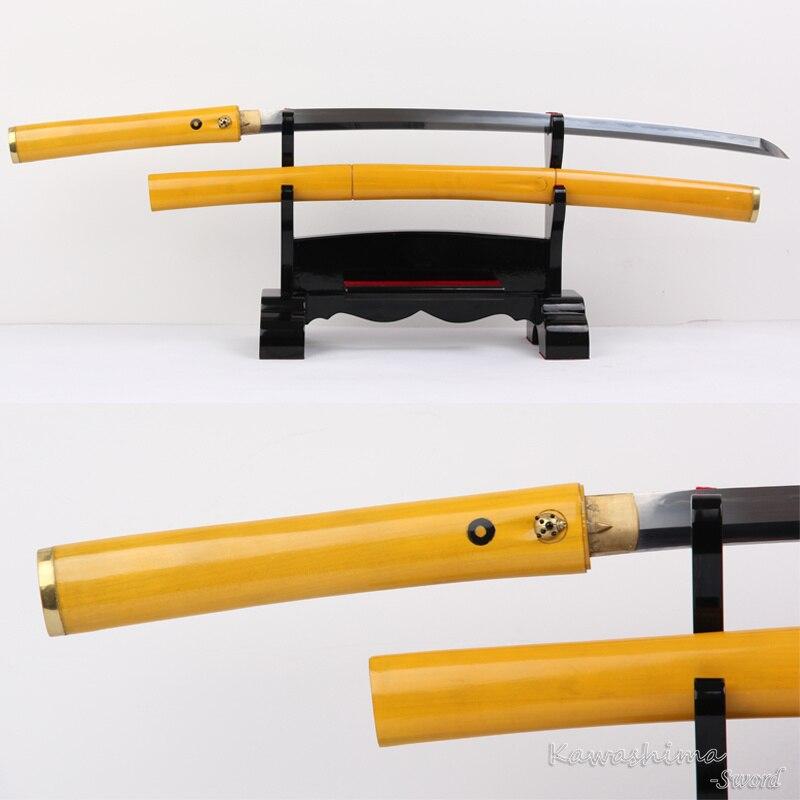 Espada de samurái japonesa hecha a mano Katana T10 arcilla acero templado artes marciales Metal artesanía bambú Shirasaya forma nitidez